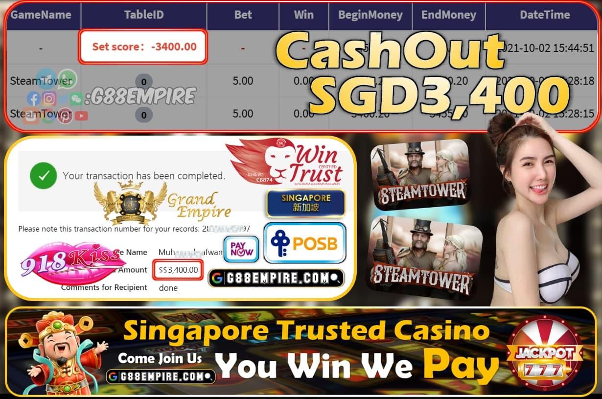 918KISS - STEAMTOWET CASHOUT SGD3400 !!!
