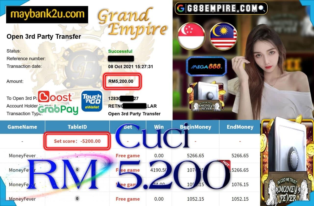 MEGA888 - MONEY FEVER CUCI RM5,200!!!
