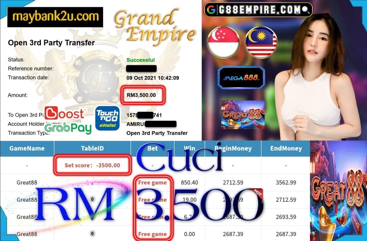 MEGA888 - GREAT88 CUCI RM3,500!!!