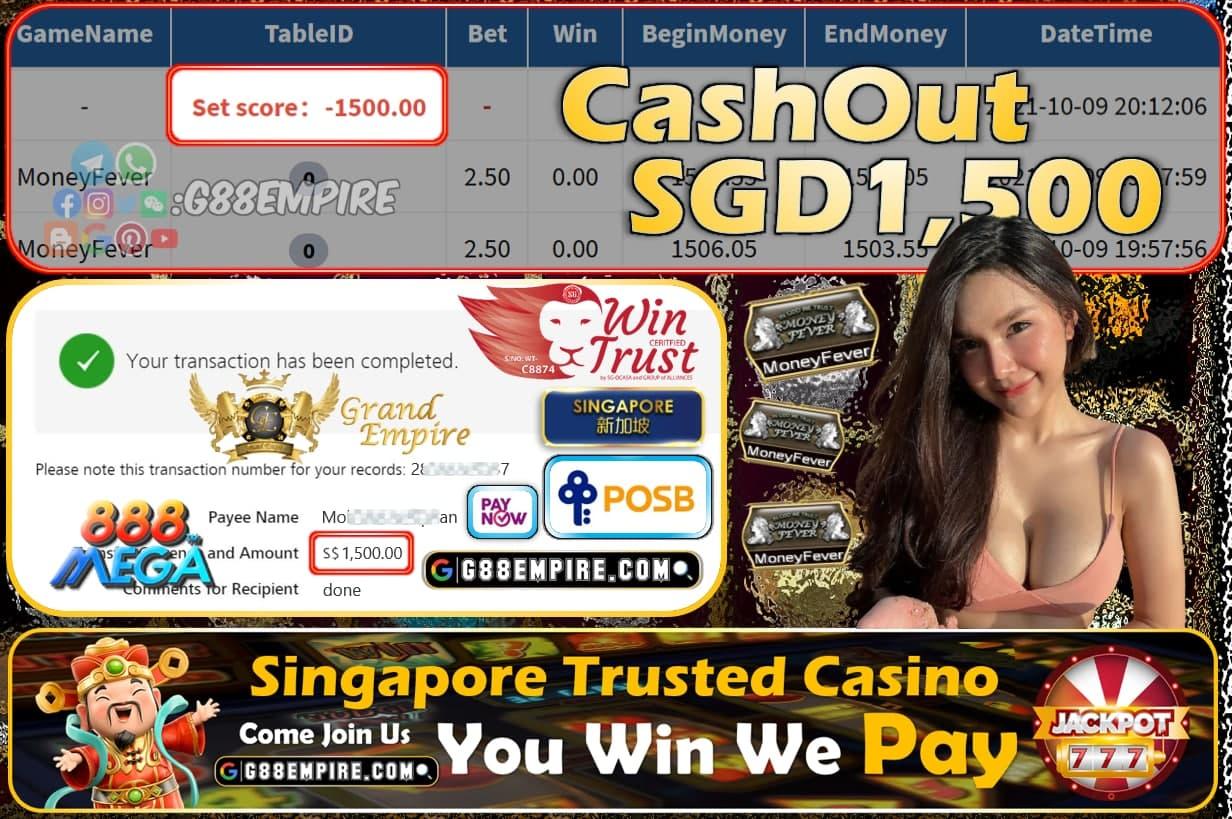 MEGA888 - MONEYFEVER CASHOUT SGD1500 !!!