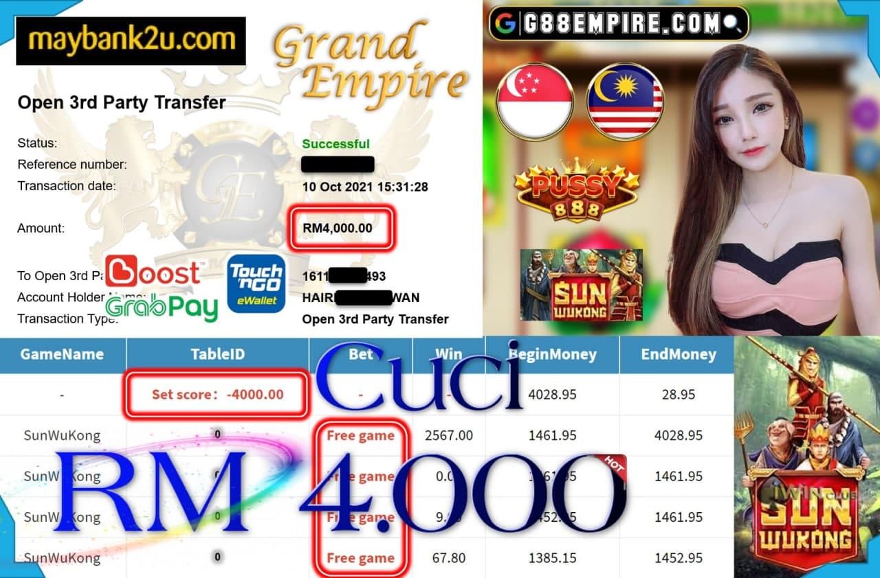 PUSSY888 - SUNWUKONG CUCI RM4,000!!!