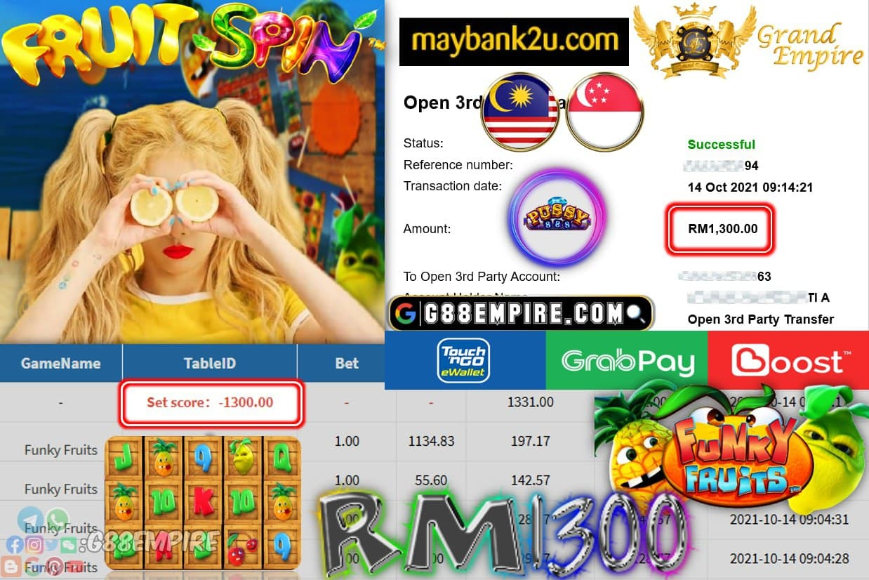 PUSSY888 - FUNKY FRUITS CUCI RM1,300!!!
