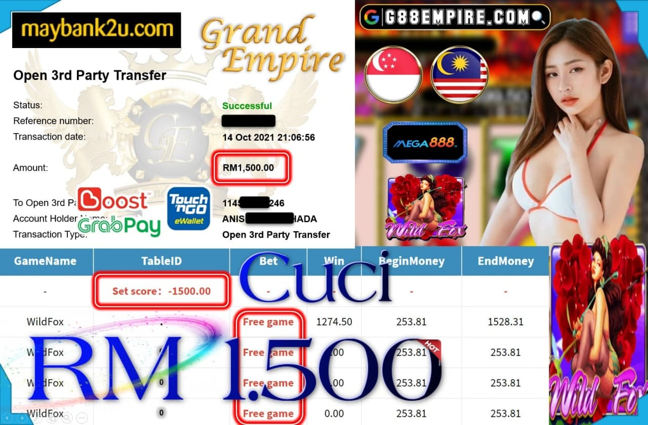 MEGA888 - WILDFOX CUCI RM1,500!!!