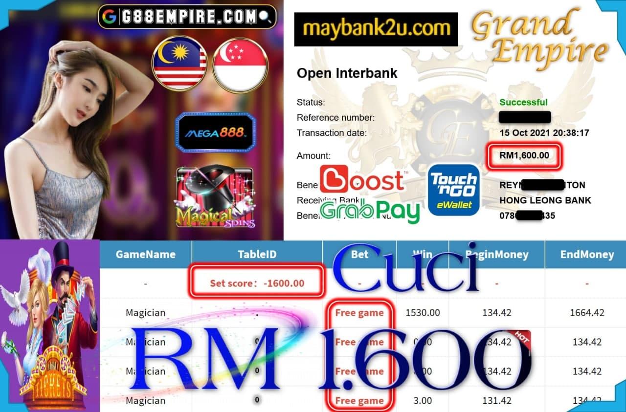 MEGA888 - MAGICIAN CUCI RM1,600!!!
