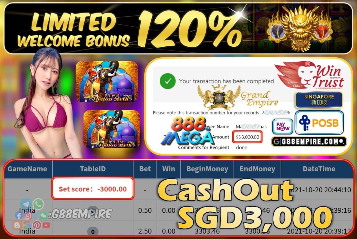 MEGA888 - INDIA CASHOUT SGD3000 !!!