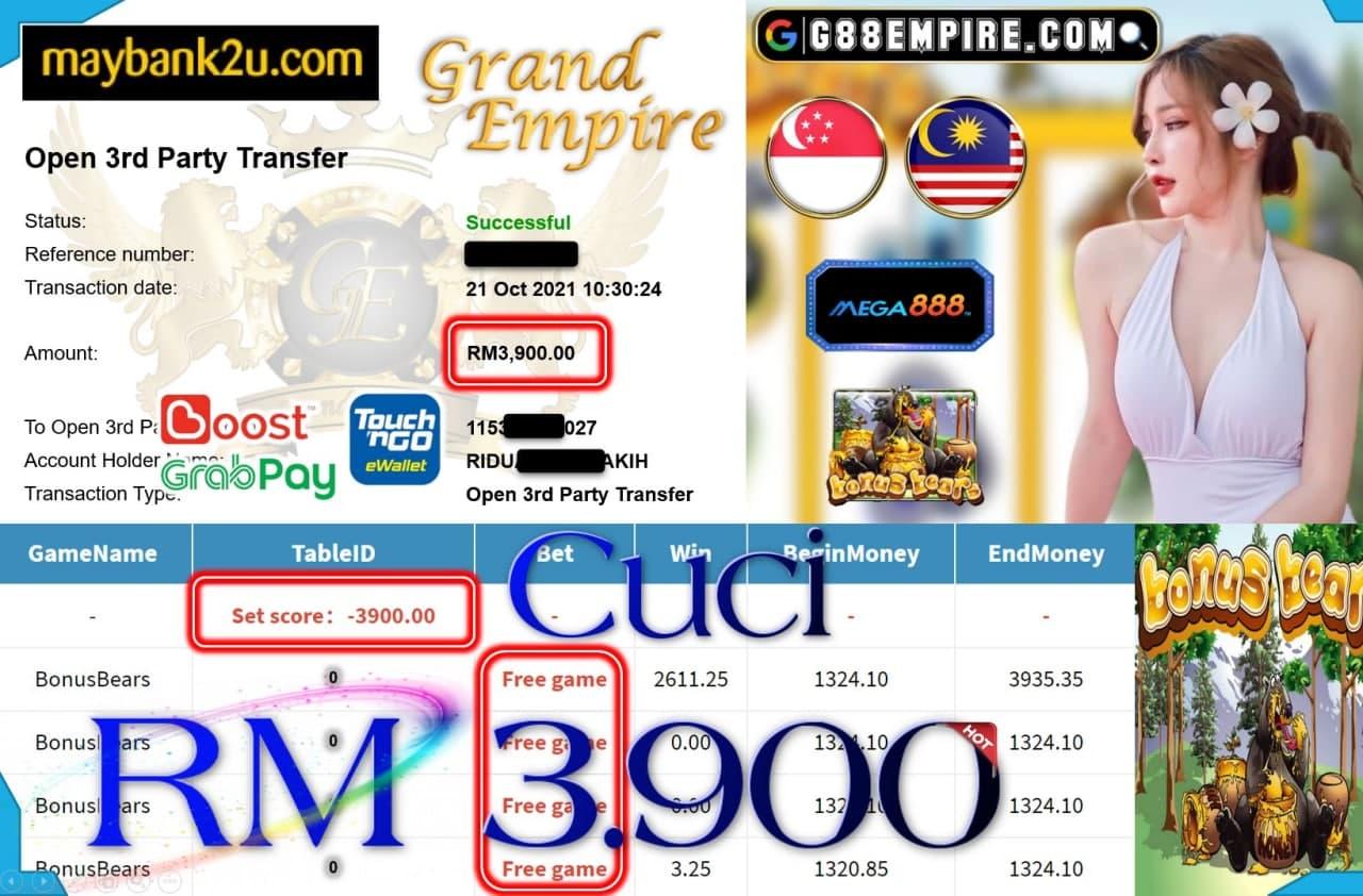 MEGA888 - BONUSBEARS CUCI RM3,900!!!